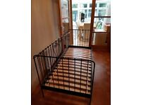 Single metal bed frame and mattress