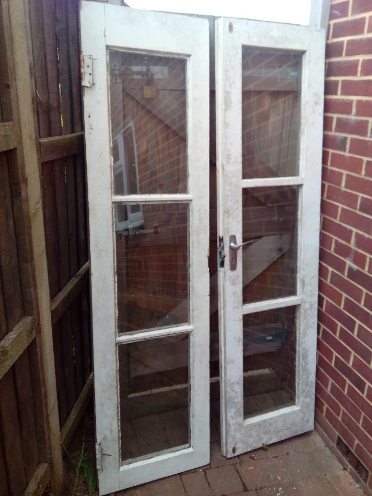 Wooden double french glazed doors white in for White wooden french doors