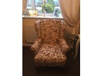 Winged chair and cushions