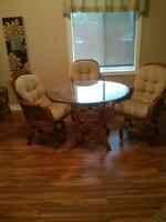 BOCA Rattan glass dining table and 3 chairs
