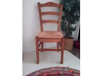 Dining chairs, ladder back with rush seat