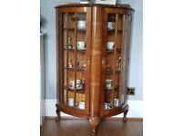 Beautiful Old Traditional Walnut Veneer Display Cabinet