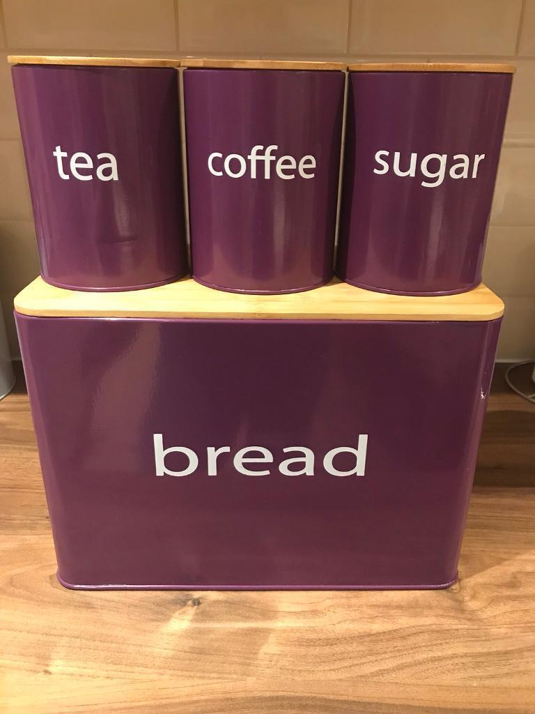 Bread Bin Tea Coffee And Sugar Purple Kitchen Ware Set In Newtownards County Down Gumtree