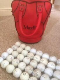 Leather maxfli practice ball carrier and 80 balls