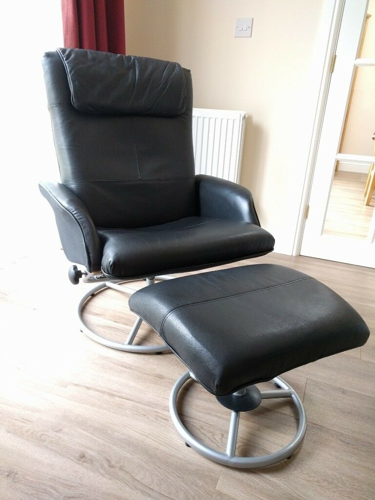 Swell Ikea Malung Black Leather Swivel Recliner Chair With Matching Footstool In Ely Cambridgeshire Gumtree Creativecarmelina Interior Chair Design Creativecarmelinacom