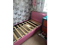 Pink Faux leather single bed