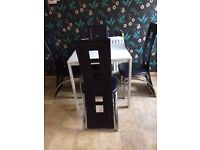 6 Beautiful Rennie Mackintosh style dining chairs: black chrome and leather. Excellent condition.