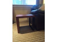 Wooden side table with metal leg