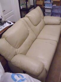 Italian Leather Cream Recliner Sofa