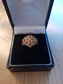 Rio Grande Citrine cluster ring in sterling silver