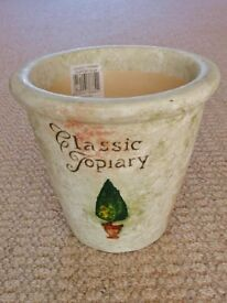 1.6kg+ Cream Classic Topiary Design Pottery Indoor Flower Plant Pot / Planter