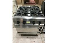Zanussi commercial stainless steel 4 burner gas cooker with oven.