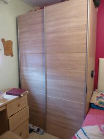 Modern oak effect sliding doors Hygena bergen wardrobe