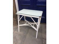 Lloyd loom style side table. In good condition. Size L 24in D 16in H 27in. Free local delivery.