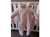 Mamas and papas pink quilted snowsuit 3-6 months