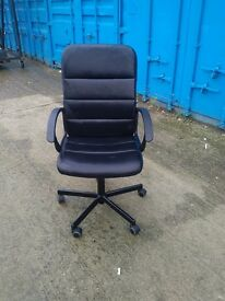 Black leather desk swivel chair in excellent condition. Can deliver free
