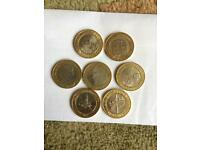 Rate £2 coins x 7 all different William Shakespeare