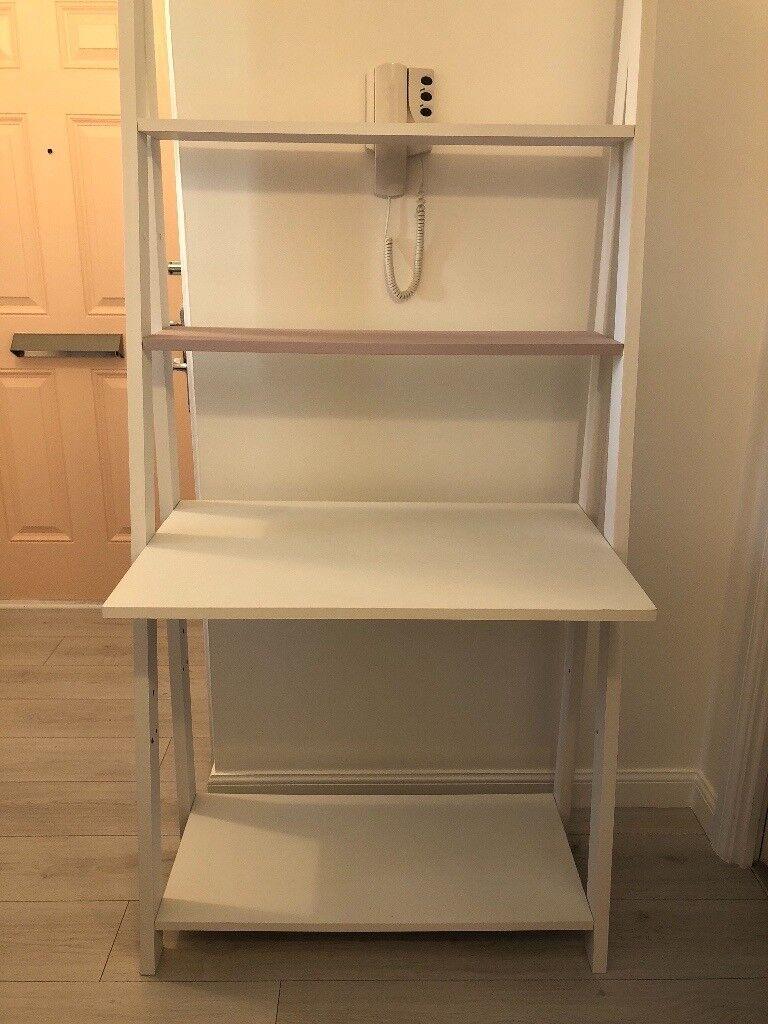 White Ladder Style Desk 2 Shelves Above 1 Below W80cm H180cm D51cm