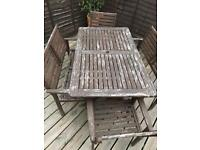 Garden wooden table and chairs