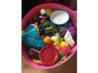Big tub of kids play food and equipment