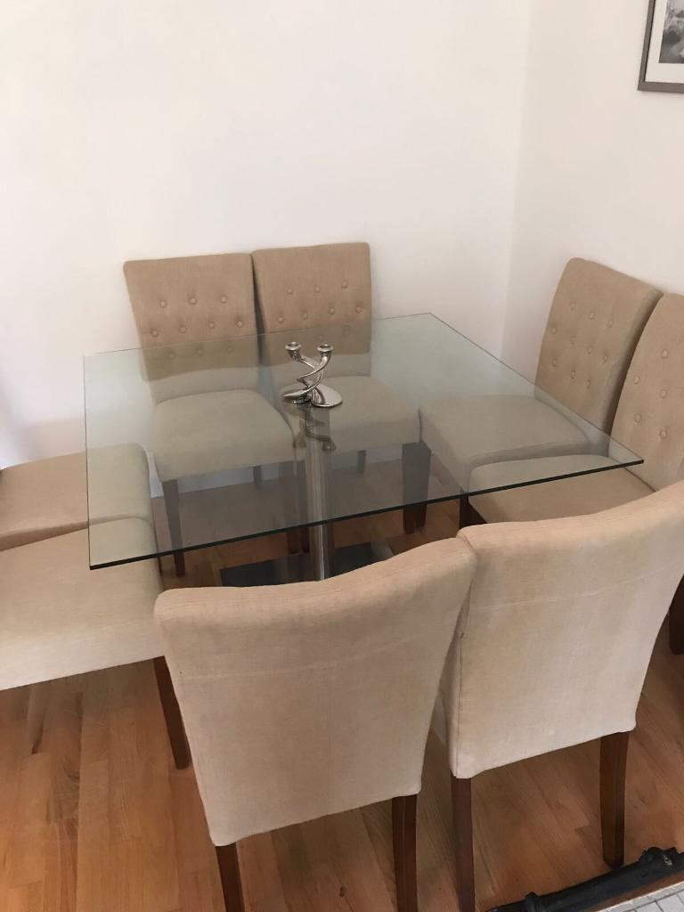 NEEDS TO GO - Bespoke square glass dining room table