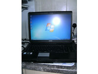 "Toshiba Satellite Laptop, 17"" screen, with web cam, running windows 7."