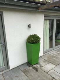 TWO Lime Green Planters- No Plants.