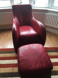 Chair and footstool - montis loge style; great refurb/re-upholster project