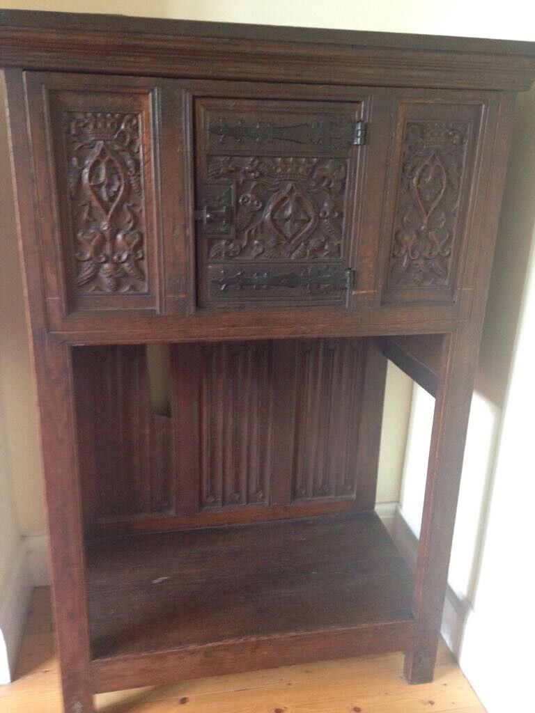 Antique victorian oak court cupboard. Top chest converted into ...