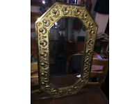 Stylish Vintage Art Deco Octagonal Embossed Brass Wall Mirror