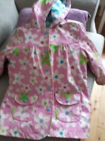 Girls hatley flowered pink coat age 6 years