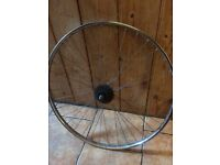 Pair of Stainless steel Raleigh bike wheels with Mallard hubs.