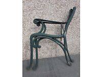 Bench Leg Ends in cast iron green with wood locating screws
