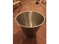 large stainless steel bucket