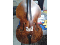 used double bass with strings bag and pickups