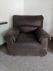 Brown faux leather single seater chair