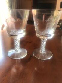 Masonic Lead Crystal Wine Glasses x 2- Free Mason