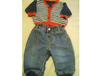 boys cardigan and jeans 0-3 months