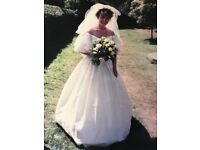Beautiful silk/ivory wedding,embroidered bodice/lace sleeves/train.Size10/12.VGC.Bargain£250