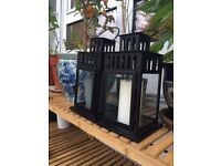 Pair of Black, Garden Hanging Candle Holders