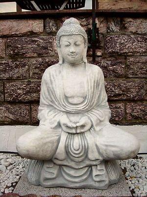 BUDDHA, große BUDDHAFIGUR sitzend aus STEINGUSS für TEICH und GARTEN, 4050An