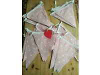 LARGE BUNTING ... APPROX 60 feet (18.5 metres) / PINK, WHITE POLKA / WEDDINGS, BIRTHDAY, FETES ETC