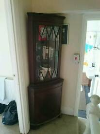 Real Wood Glass Fronted Corner Display Cabinet