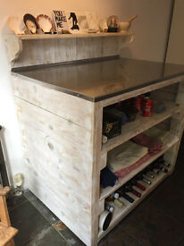 Chic Italian industrial, rustic, upcycled table/shelving unit made from pallets