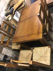 Heavy pine table X 6 chairs