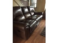 Laz y boy Leather Gizmo Chair with fridge, speakers, massage and electric recliner and 3 seat sofa