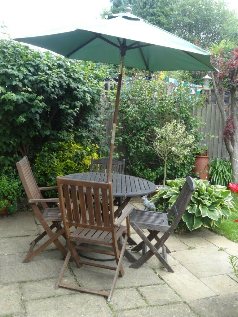 Garden Furniture Set. 4 seater wooden table and chairs ...