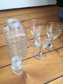 Decanter and 3 Glasses