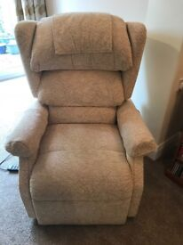 Two recliner armchairs (Cosi brand). Matching, one large, one medium. Good for aiding mobility.