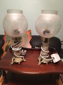 Matching Glass Chandelier and 2 Table Lamps - Great Condition